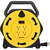 DEWENWILS Extension Cord Reel with 25 FT Power Cord, Hand Wind Retractable, 16/3 AWG SJTW, 4 Grounded Outlets, 13 Amp Circuit