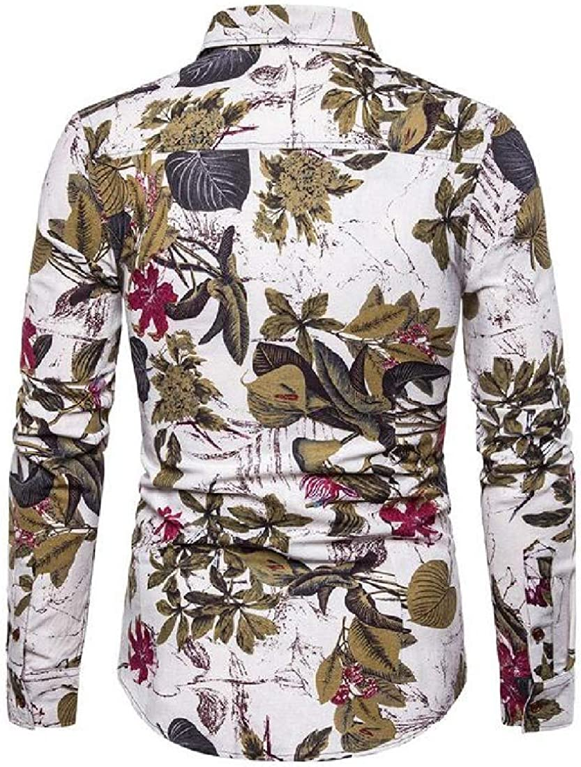 Rrive Men Regular Fit Flower Shirts Casual Button Up Long Sleeve Shirt Top