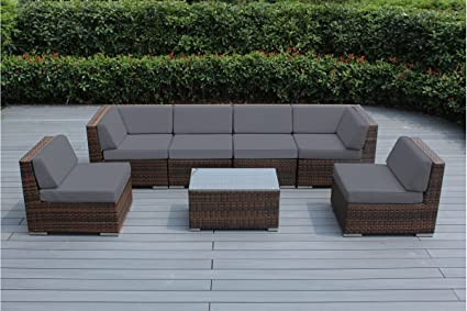 Ohana Outdoor Patio Sofa Sectional Wicker Furniture Mixed Brown 7pc Couch  Set With Free Patio Cover