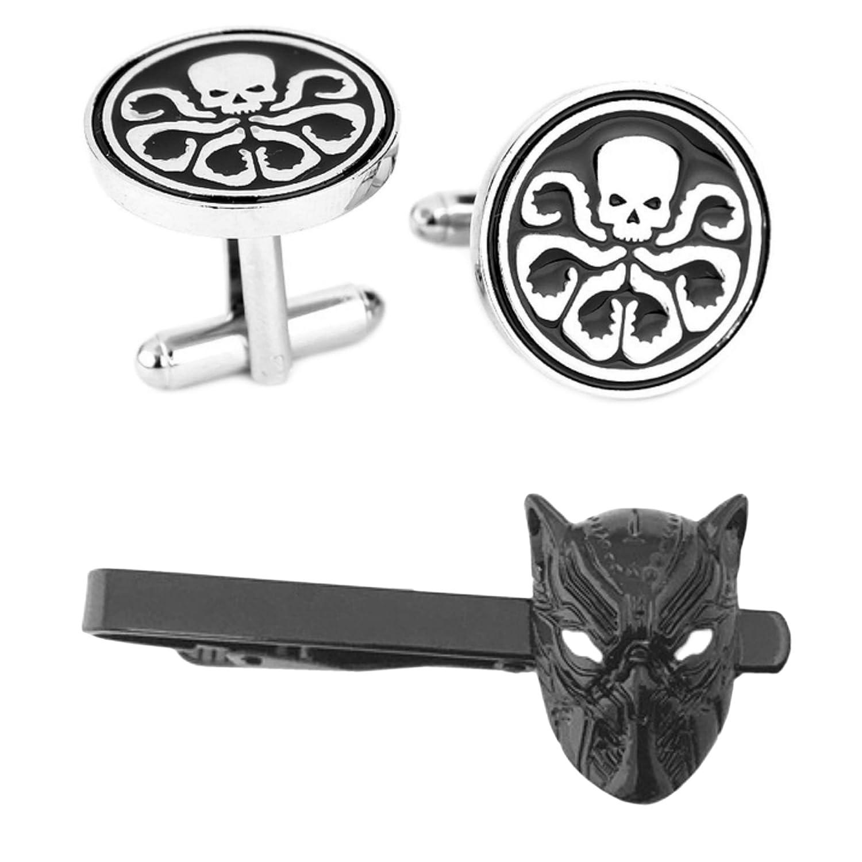 Outlander Hydra Cufflink & Killmonger Black Tiebar - New 2018 Marvel Studios Superhero Movies - Set of 2 Gift Set Wedding Logo Novelty Jewelry Series w/Gift Box