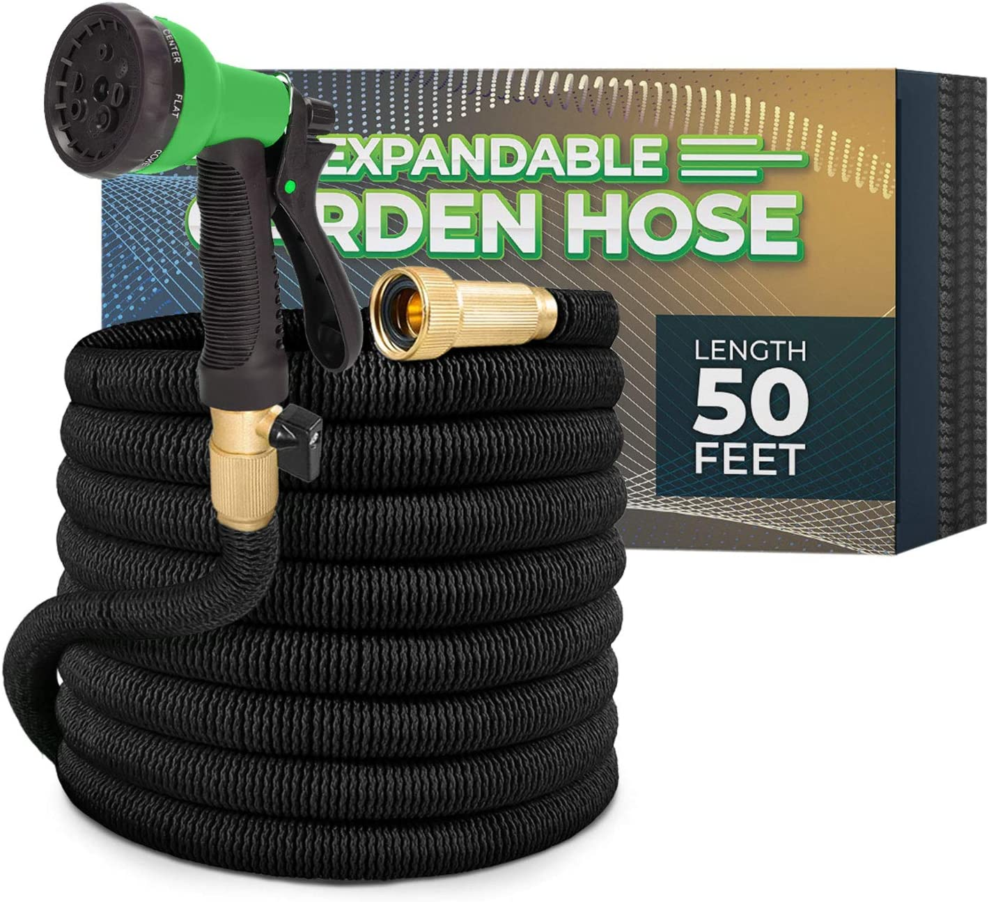 Joey's Expandable Garden Hose with 8 Function Hose Nozzle, Lightweight Anti-Kink Flexible Garden Hoses, Extra Strength Fabric with Double Latex Core, (50 FT, Black)