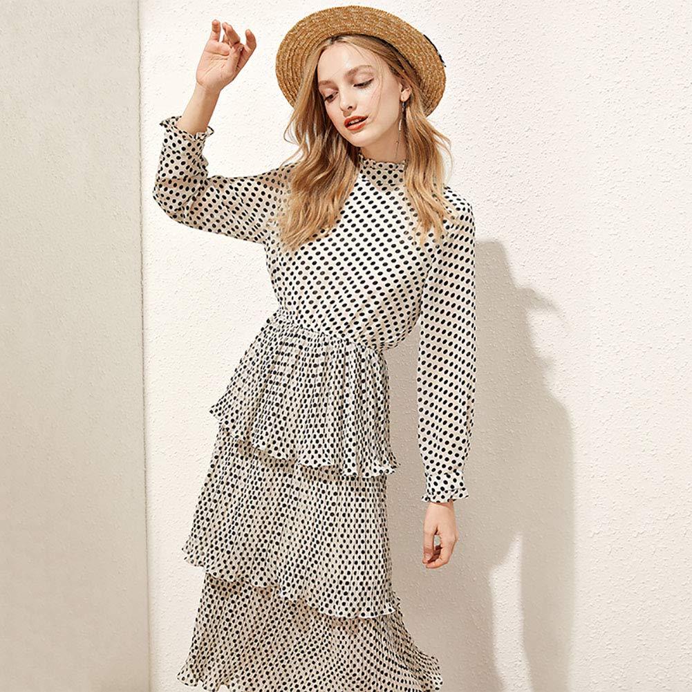 女性のドレス - 水玉シフォンスカート - ロングケーキスカート - ドット、ケーキ層のデザイン Small blackandwhite B07QRTR3SF