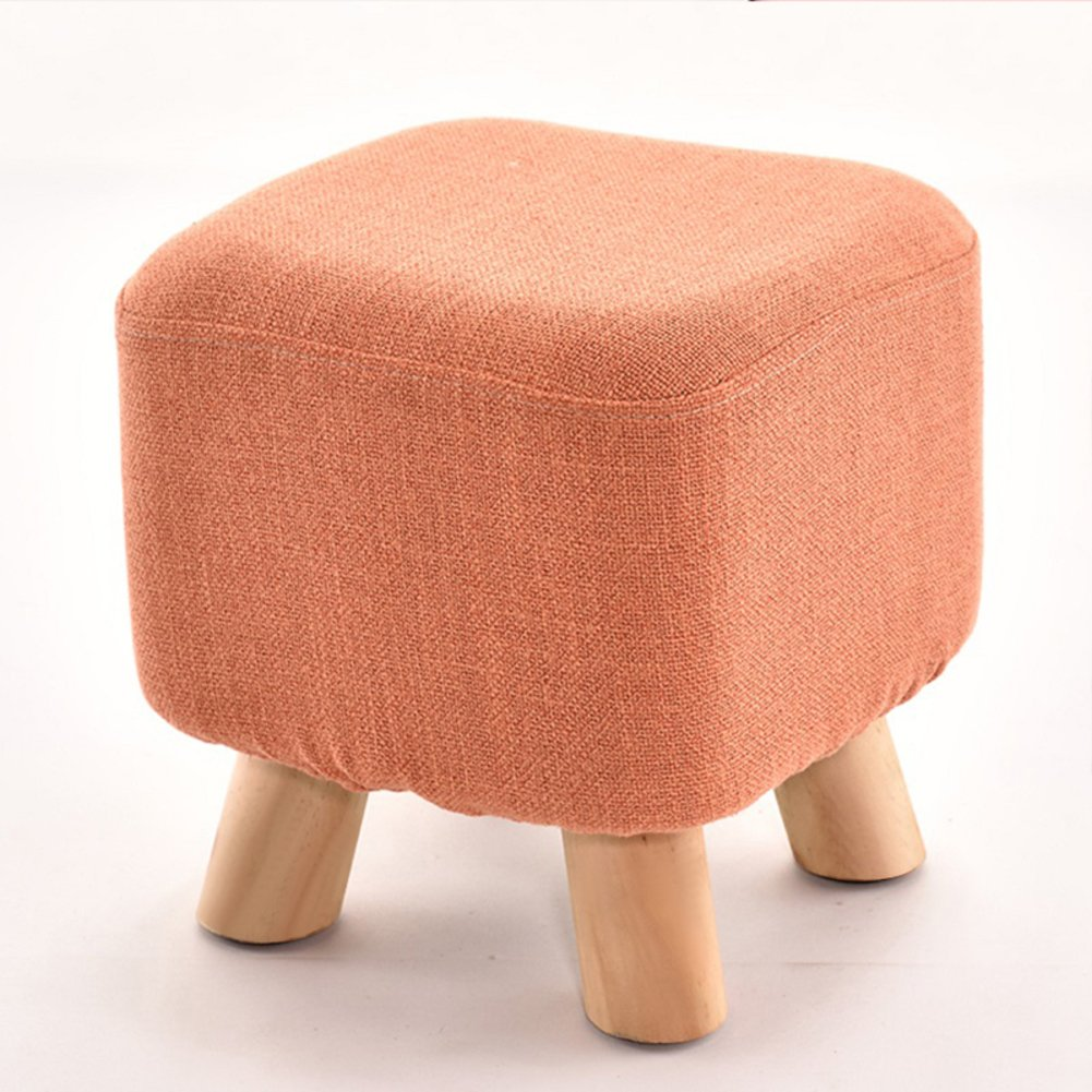 D&L Solid wood Square Seat Stool,Ottoman Pouffe Footstool Fabric Cover 4 legs And Removable Linen Cover-Orange L28xW28xH28.5cm
