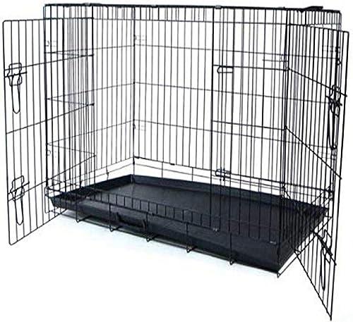 YML 42-Inch 2-Door Heavy Duty Dog Crate, Black