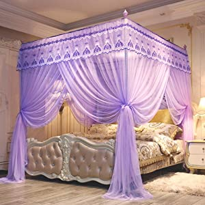 JQWUPUP Elegant Bed Curtains Canopy, Embroidery Lace 4 Corner Post Mosquito Net, Princess Bed Canopy for Girls Kids Toddlers Crib Adult, Bedding Décor (Queen, Purple)