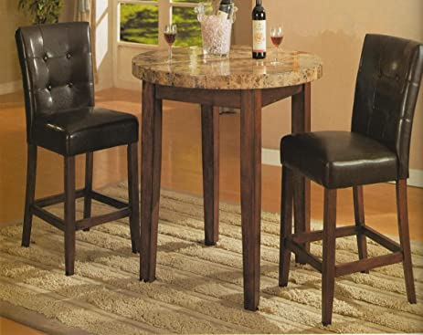 Roundhill Furniture 3 Piece Artificial Marble Top Counter Height Bar Set  With Table And 2