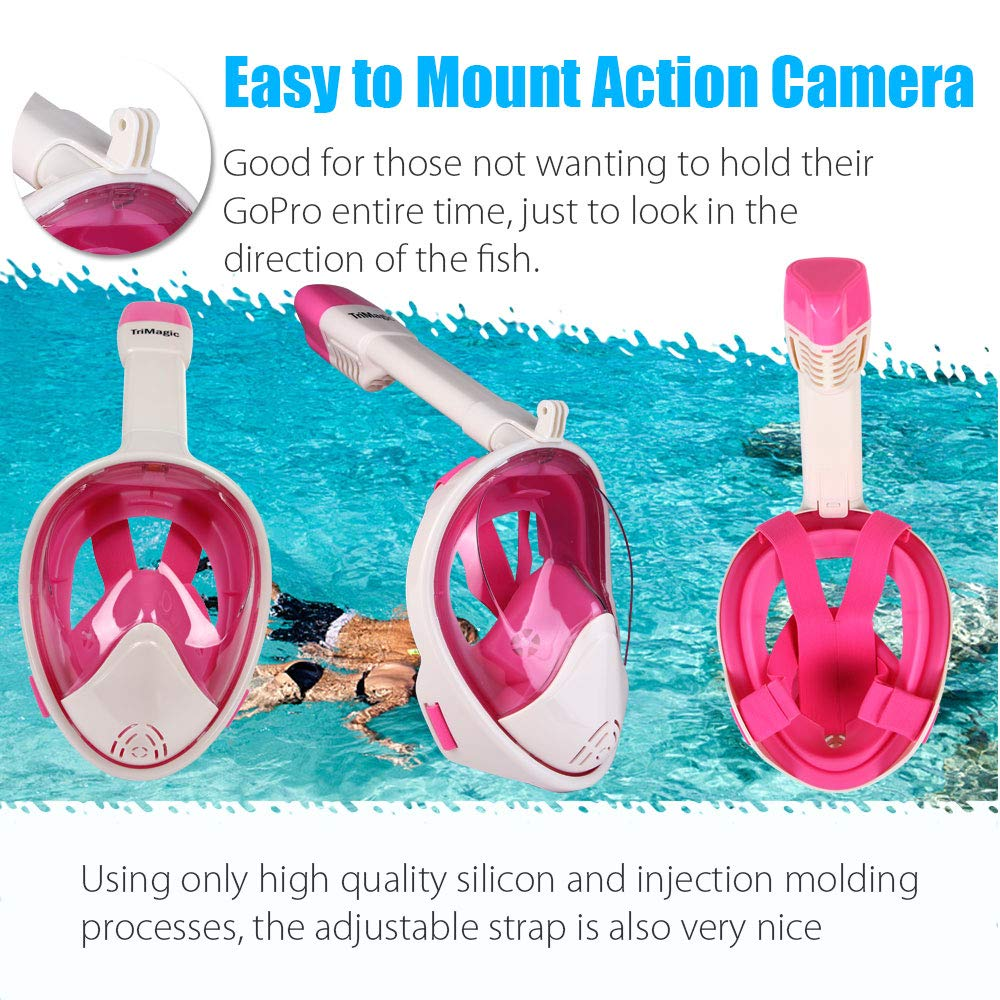180/° Panoramic View Snorkeling Mask Set Easy Breath Anti-Fog with Detachable for Camera Mount TriMagic Full Face Snorkel Mask Anti-Leak