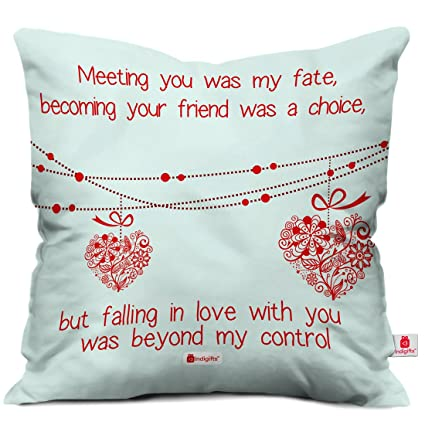Amazoncom Indibni Love Quote Hearts On A String White Cushion