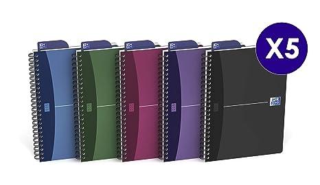 Oxford Urban mix - Pack de 5 cuadernos espiral, tapa plástico opaco, A5