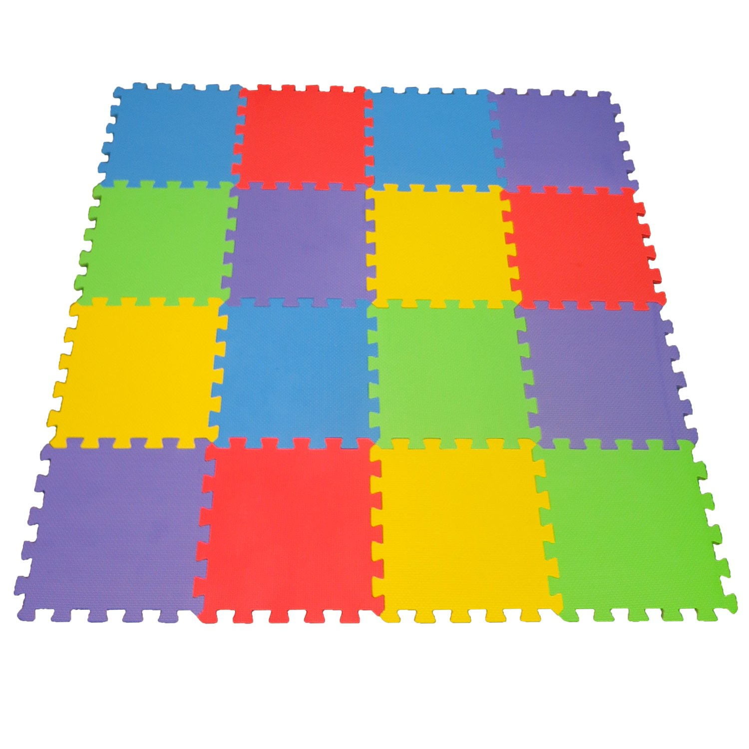 16 X-Large Eva Foam Soft Tile Mat Safe Playmat ideal Gift Toy Child & Baby Room, Interlocking Puzzle Multi Color flooring Exercise Yoga Pilates Toddler infant Game Play Area Yard Superyard Carpet