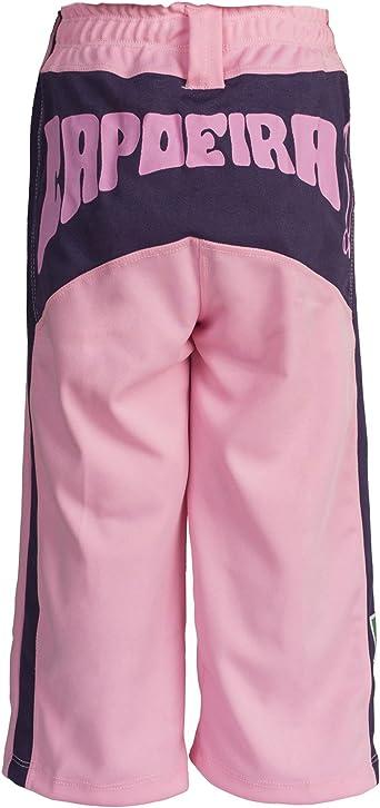 Girls//Childrens Pink with Berimbau Print Along The Backside JL Sport Authentic Brazilian Capoeira Martial Arts Pants