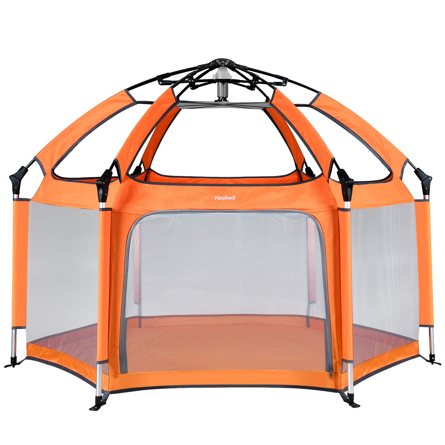 Hoybell Baby Playpen, Portable Playard Indoor and Outdoor, Safety Lock, Washable 6-Panel Kids Playpen with Carry Case, Canopy – Orange