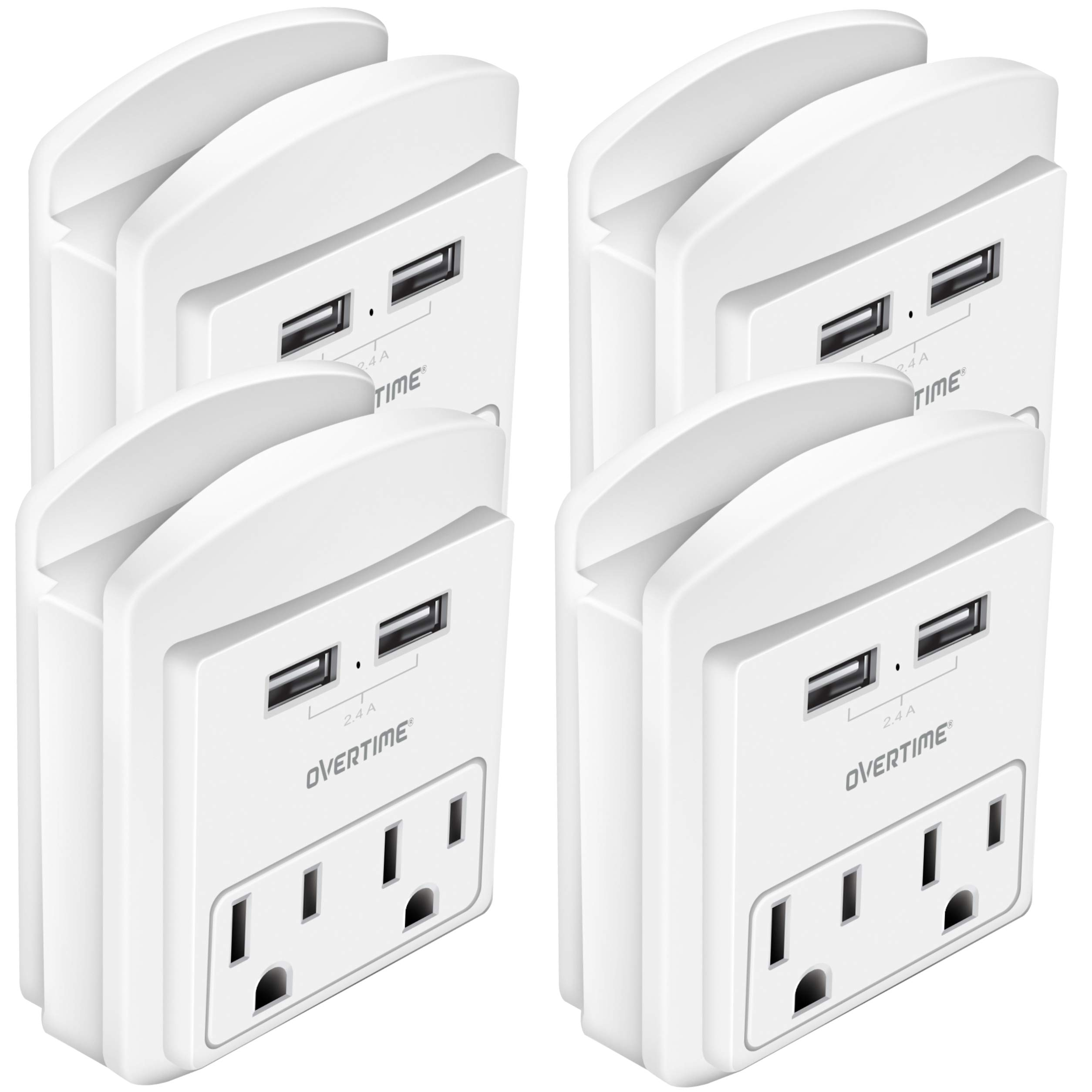 Socket Shelf (4 Pack) - USB Wall Charger with 2 USB charging ports 2.4 Amp, Surge Protector 2-outlet Wall Mount with Cell Phone Holder, Multiple Outlet Socket for Home, School, Office, ETL Certified