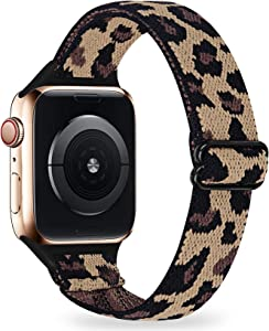 LANVO Adjustable Slim Elastic Bands Compatible with Apple Watch Band 44mm 42mm 40mm 38mm, Women Stretch Thin Nylon Band Strap Compatible for iWatch SE Series 6 5 4 3 2 1