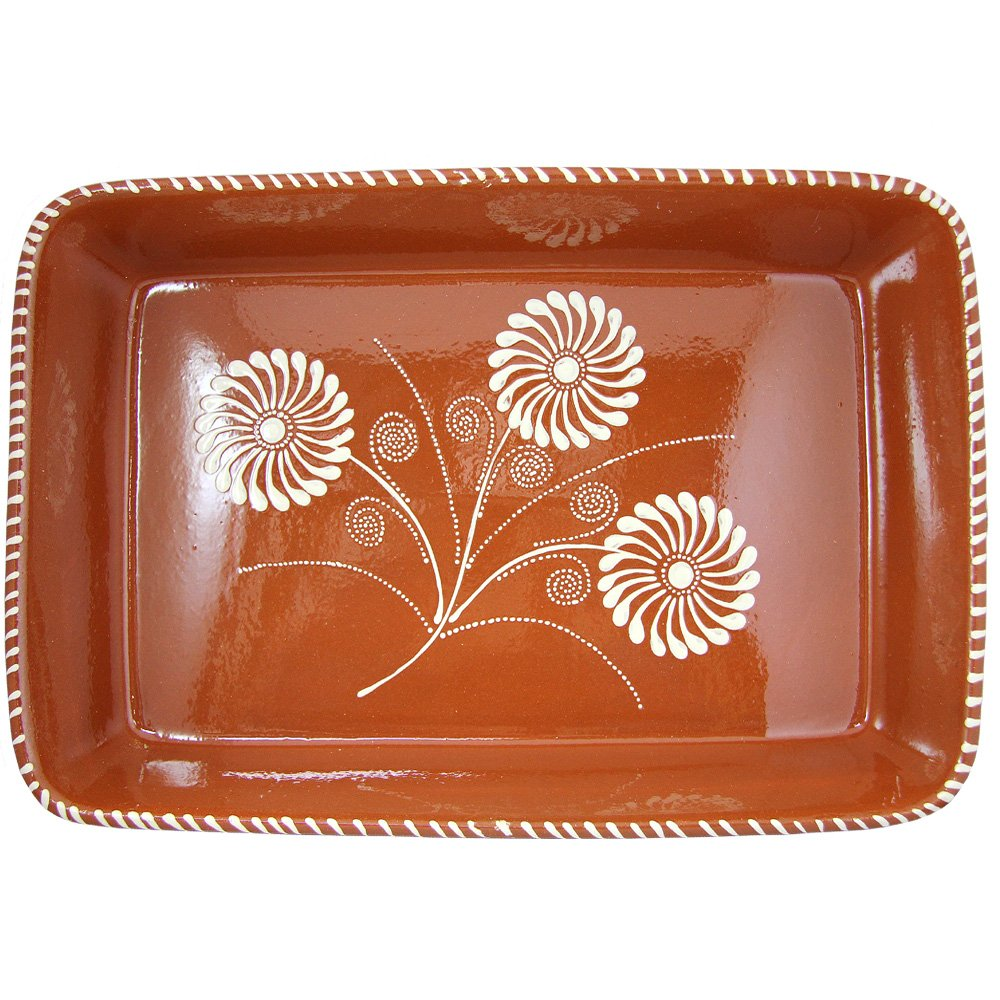 Vintage Portuguese Traditional Clay Terracotta Pottery Roasting Tray Made In Portugal (N.5 19 3/8 x 12 3/4 x 4'' Inches)