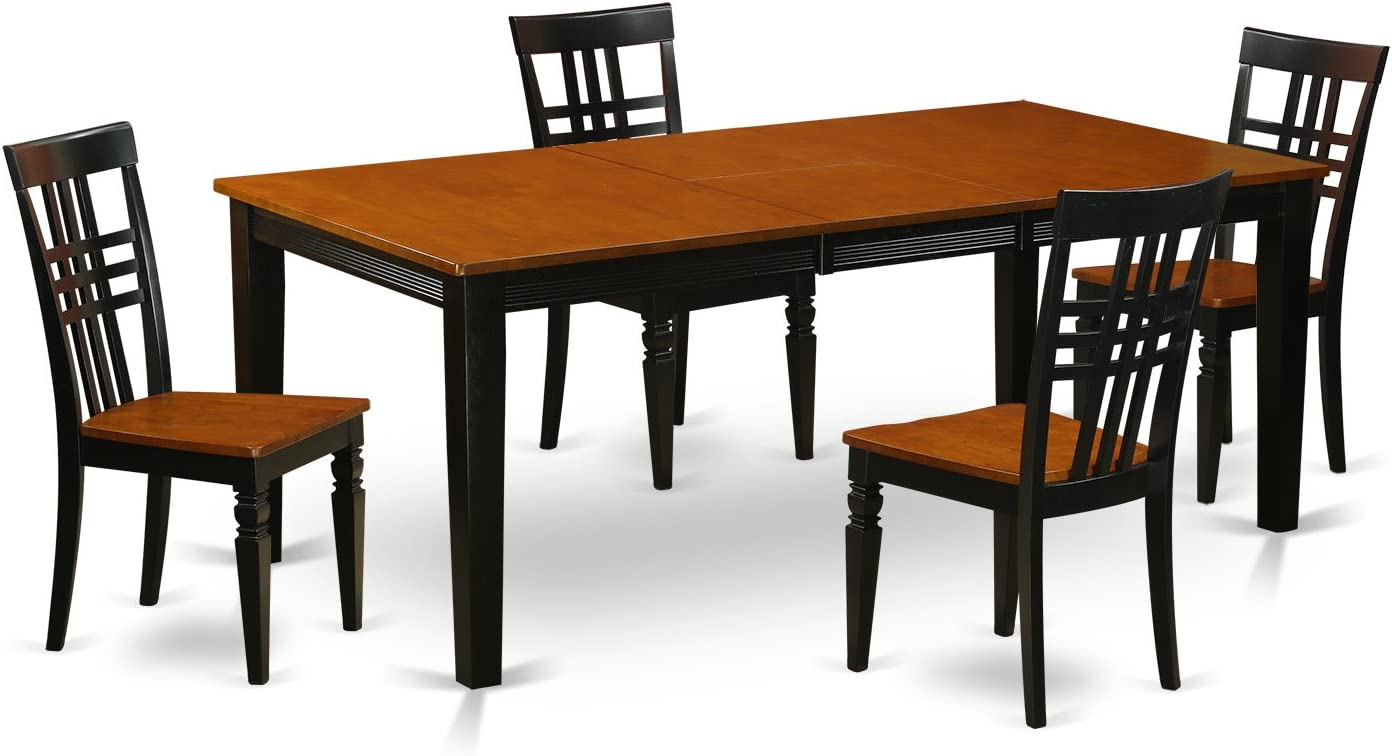 QULG5-BCH-W 5 PC Kitchen Table set with a Dining Table and 4 Dining Chairs in Black and Cherry