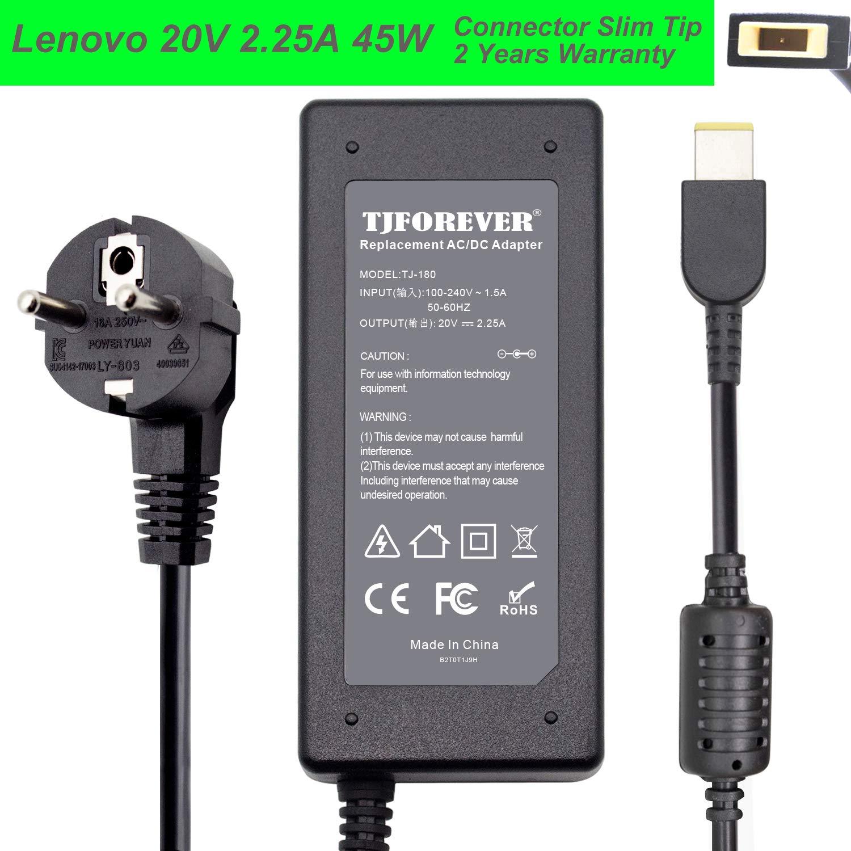 TJFOREVER Cargador Portatil Lenovo 20V 2.25A 45W para Lenovo ADLX45NDC3A ADLX45NCC3A ADLX45NLC3A Thinkpad Yoga Notebook Ordenador portátil Fuente de ...