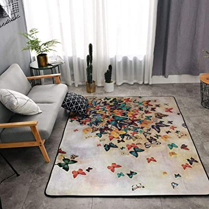 Amazon.com: Colorful Butterflies Kitchen Rugs, Bedroom ...