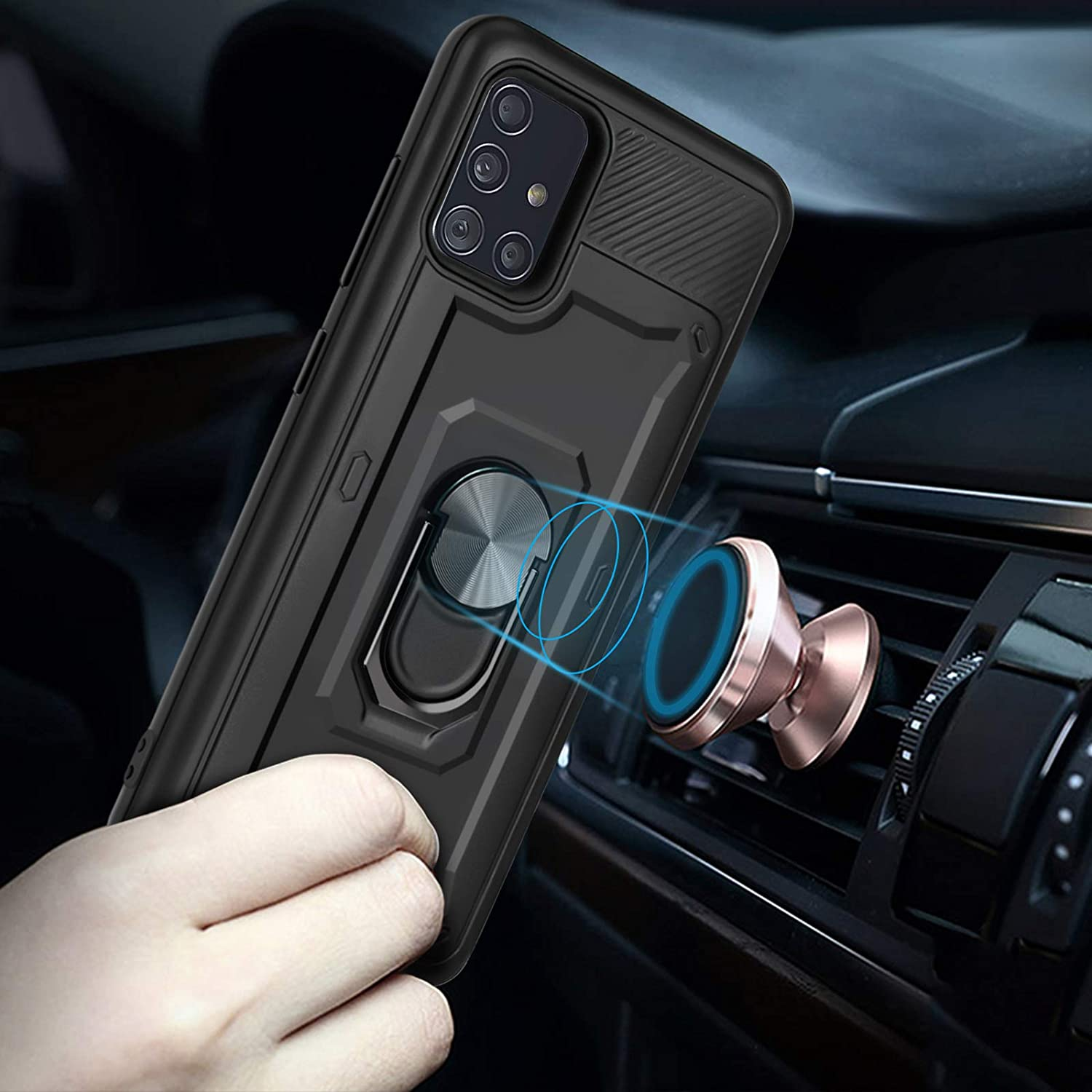 Not Fit A51 4G with Ring Kickstand Holder Work with Magnetic Car Mount Shockproof Protective Hard Cover-Rose Gold Newseego Compatible with Samaung Galaxy A51 5G Case