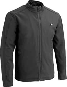 Milwaukee Leather MPM1762SET Men's Grey Zipper Front Heated Soft Shell Jacket with Included Battery Pack - Small