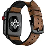 Mifa - Apple Watch Hybrid Sports band vintage Leather Bands Dark Brown Replacement straps Sweatproof classic dress iwatch series 1 2 3 nike space black grey gray 42mm brown men women HB (42mm - Brown)