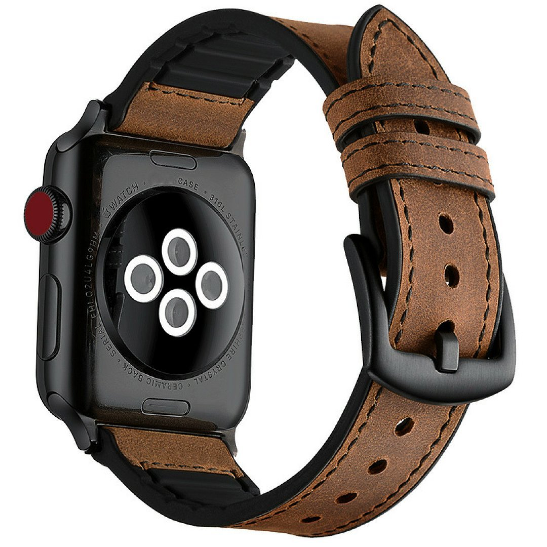 Mifa Hybrid Leather Sports Band for Apple Watch Vintage Bands Dark Brown Replacement Straps Sweatproof Classic Dress iwatch Series 4 1 2 3 Nike Space Black Grey 42mm Brown Men Women HB (42mm - Brown)