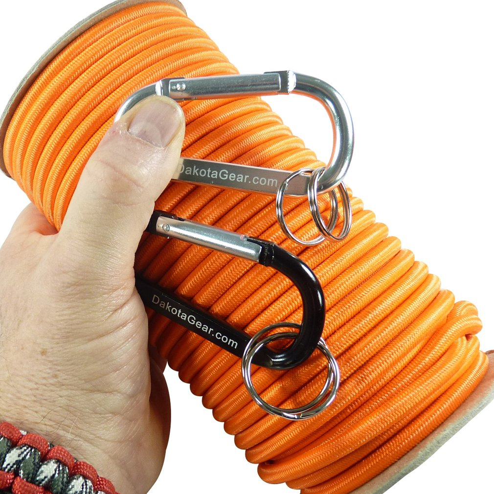 Shock Cord - ORANGE 1/4'' x 100 ft. Spool. Marine Grade, with 2 Carabiners & Knot Tying eBook. Also called Bungee Cord, Stretch Cord & Elastic Cord. by Dakota Gear (TM)
