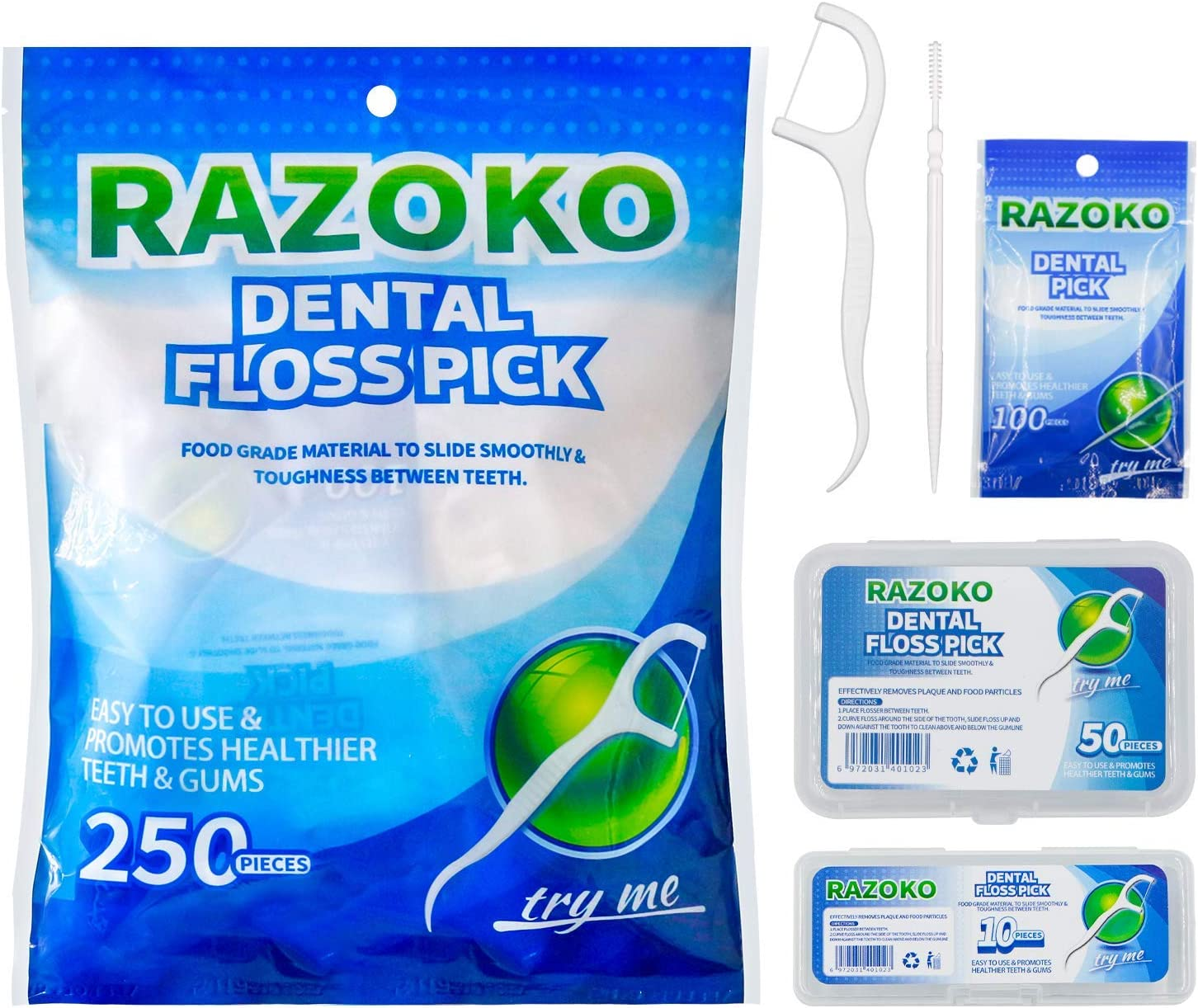 Dental Floss Picks Toughness 250pcs with Portable Cases and 100pcs BrushPicks WAS £9.99 NOW £4.99 w/code UCX2WWZW @ Amazon