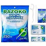 Dental Floss Picks High Toughness Toothpicks Sticks 250pcs with Portable Cases and 100pcs BrushPicks Interdental…