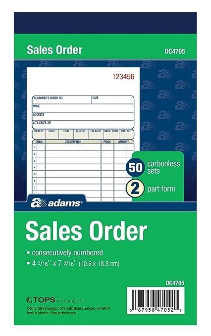 amazon com adams sales order book 2 part carbonless white