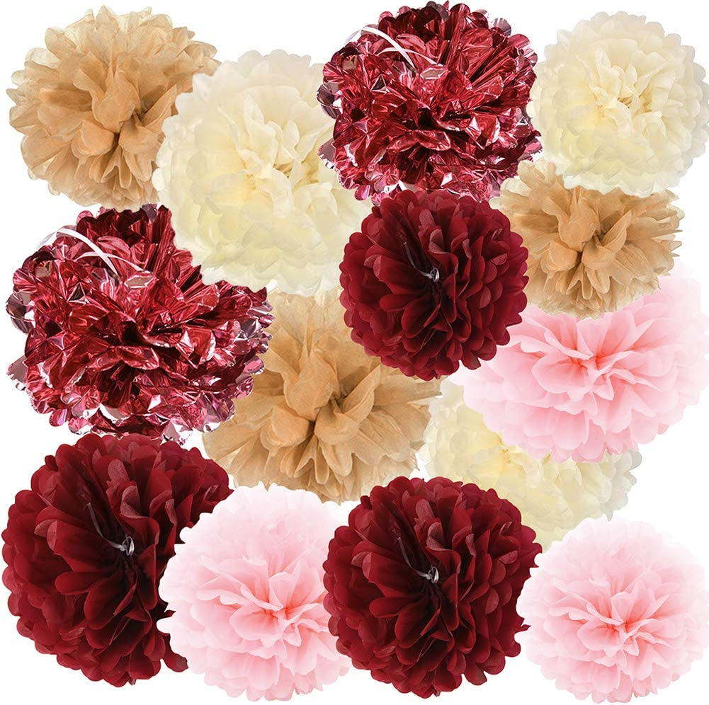 HappyField 14 PCS Rose Gold Party Decorations Metallic Foil and Tissue Paper Pom Poms Wedding Decorations Bridal Shower Decorations Bachelorette Party Decor Baby Shower Decor Birthday Party Decor