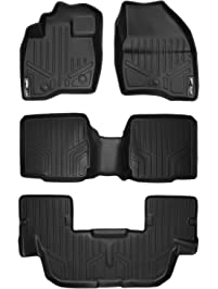 MAXLINER A0245/B0109/C0082 Floor Mats for Ford Explorer, with 2nd Row Center Console, 2017, 3 Row Set, Black