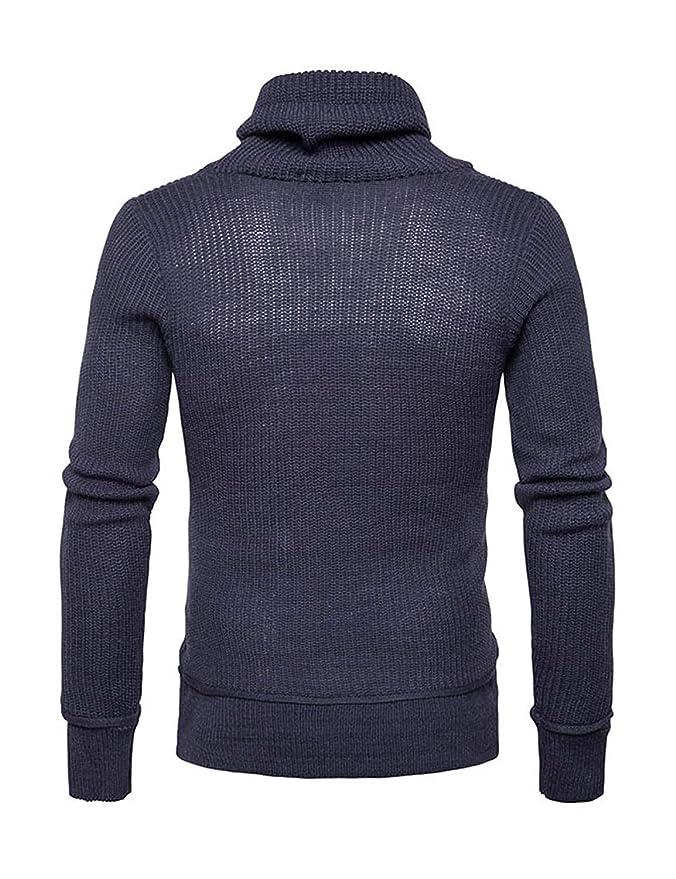 HX fashion Suéter De Punto Jersey De Cuello Alto para Hombre Tamaños  Cómodos Suéter De Punto Suéter De Punto Otoño Invierno Manga Larga Suéter  De Cuello ... 18553b1ba8e06