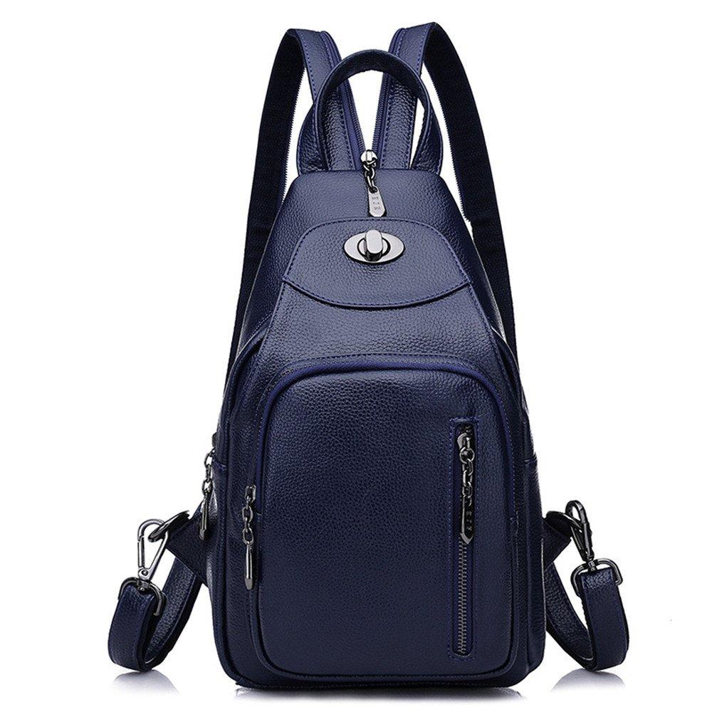 SJMMBB New ladys shoulder bag with fashion soft leather burglar burglar Backpack,blue,33X23X12CM