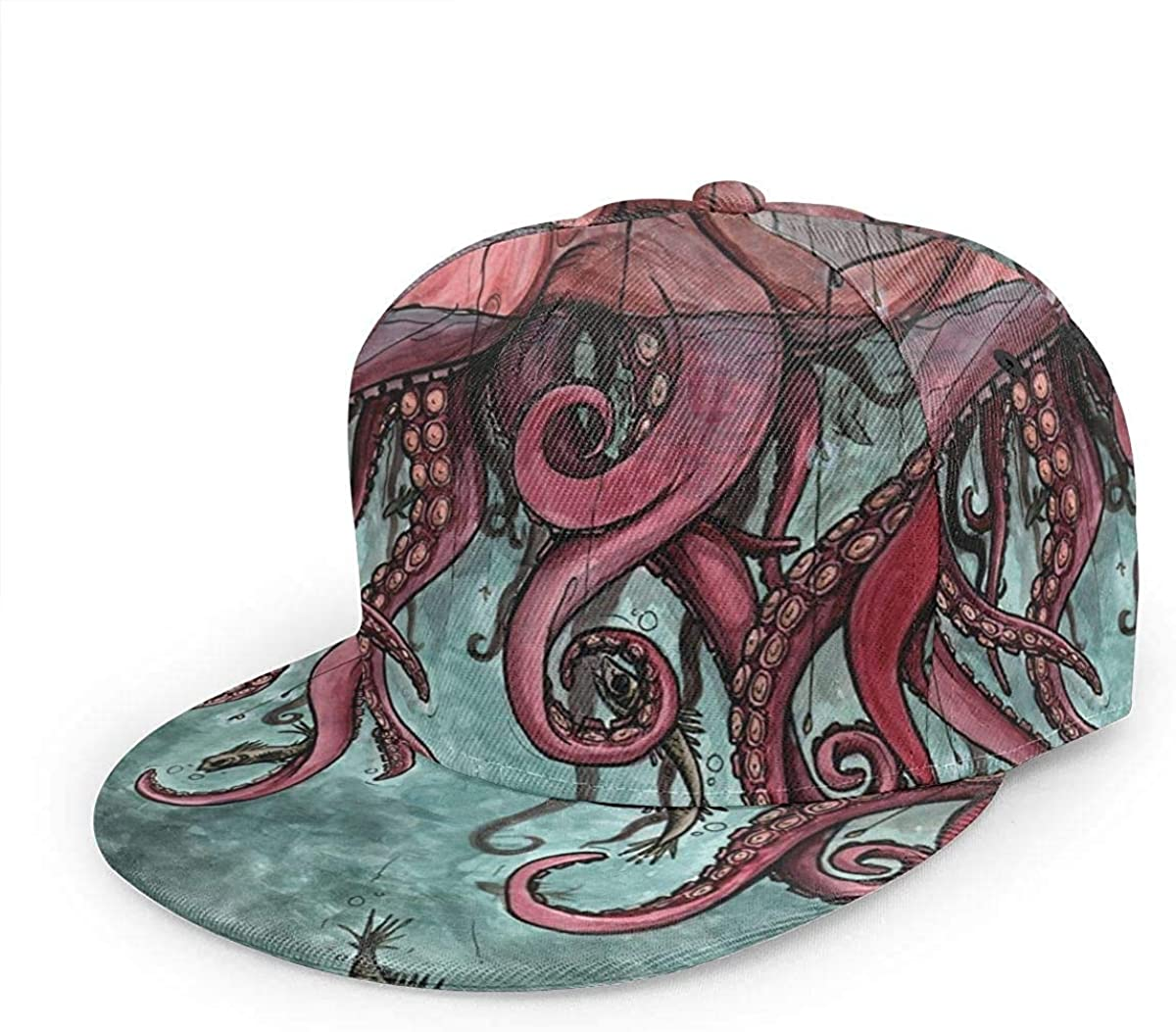 Pink Octopus and Fish Lightweight Unisex Baseball Caps Adjustable Breathable Sun Hat for Sport Outdoor