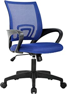 Home Office Chair Ergonomic Desk Chair Mesh Computer Chair with Lumbar Support Armrest Executive Rolling Swivel Adjustable Mid Back Task Chair for Women Adults (Blue)