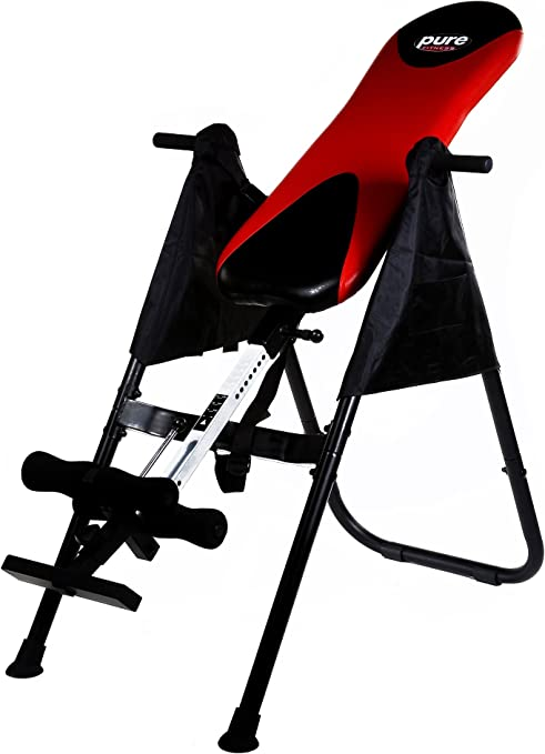 Pure Fitness Inversion Therapy Table, Red/Black