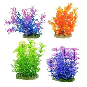 YXQ Artificial Acuario Plástico Plantas Decoración Fish Tank Agua Hierba Planta Adorno 4 Piezas: Amazon.es: Productos para mascotas