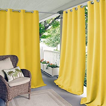 1 pieza 108 pulgadas al aire libre Gazebo de color sólido Amarillo Cortina, amarillo fuera