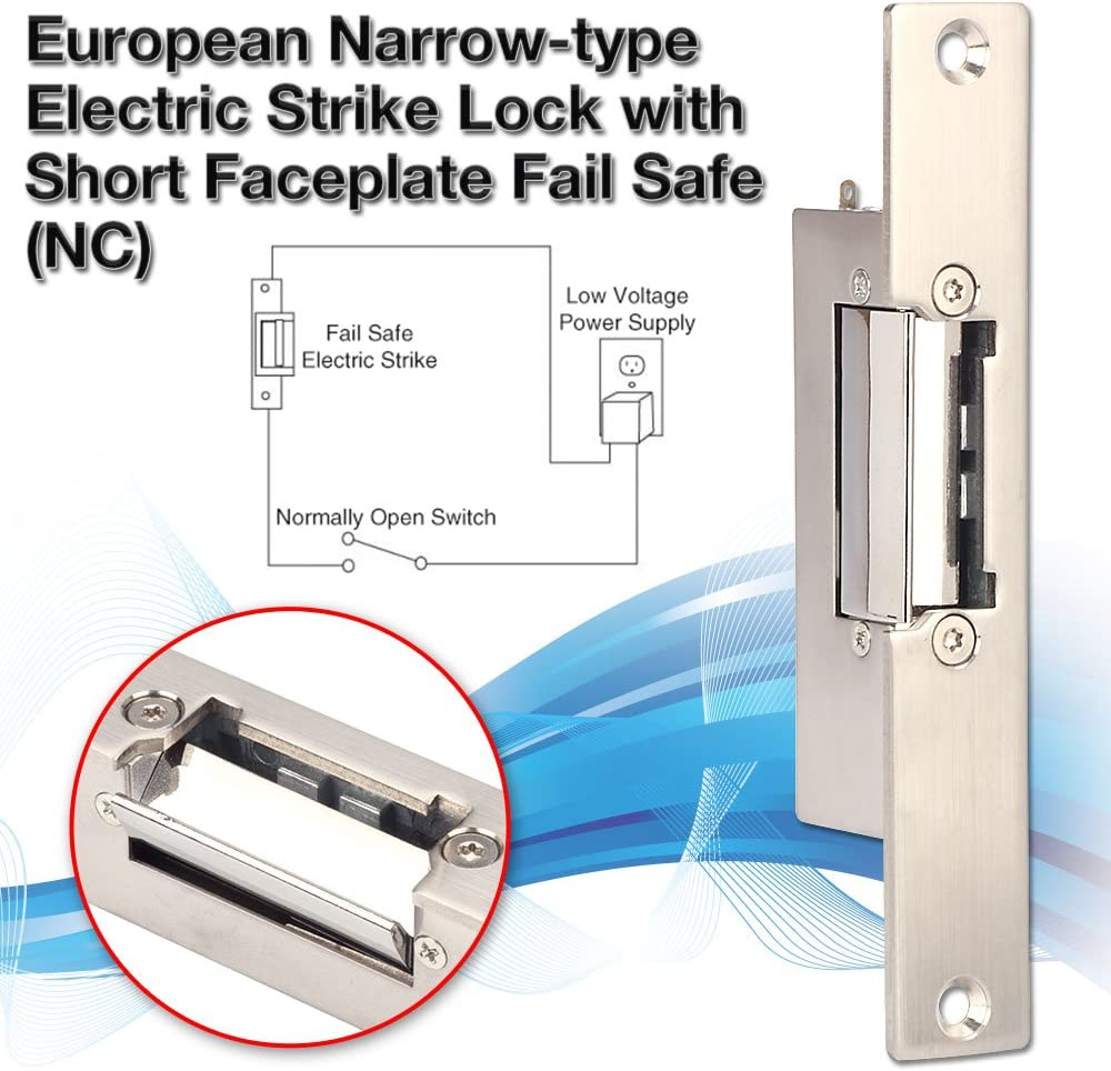 ZOTER Narrow Type Electric Door Lock for Home Office Wood Metal Door NC Mode Fail Safe DC 12V Access Control Electric Strike Lock