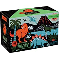 "Mudpuppy Dinosaur Glow-in-the-Dark Puzzle, 100 Pieces, 18""x12"" –Perfect for Kids Age 5+ - Colorful and Glowing…"