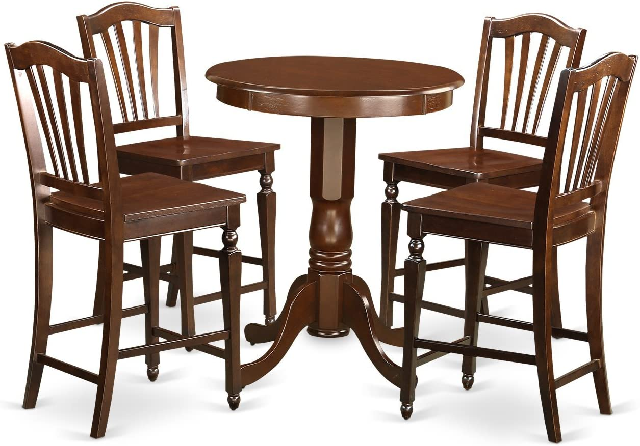 EDCH5-MAH-W 5 Pc counter height set – high top Table and 4 Kitchen bar stool.