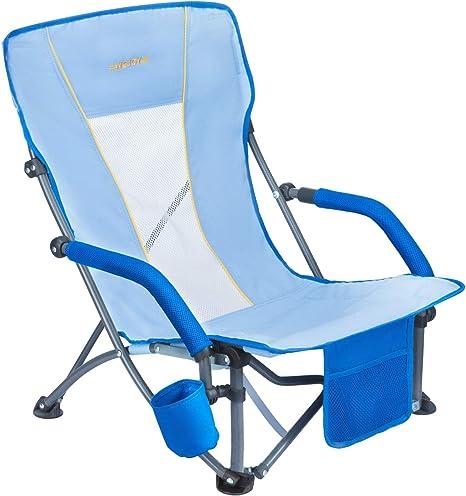 WEJOY Silla de camping o de playa plegable ligera y resistente con posavasos y bolsillo Silla de acero para aire libre para el hogar, acampada, playa,