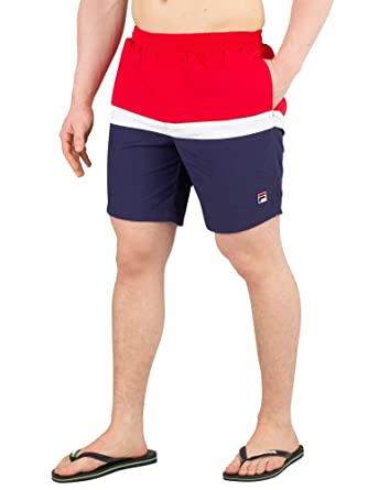 fb0d31fbfe Fila Vintage Men's Peter Colour Block Swimshorts, Blue | Amazon.com