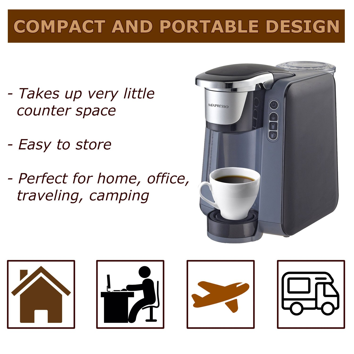 Single Cup Coffee Maker - K Cup Compatible - by Mixpresso (Dark Grey)