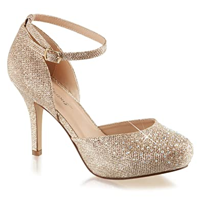 30c737e51e Summitfashions Womens Nude Color Shoes Glitter Pumps Ankle Strap Silver  Rhinestone 3 1/2 Inch