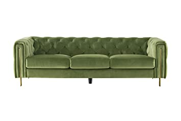 Acanva Collection Luxury Chesterfield Vintage Tufted Velvet Living Room Sofa, Couch, Mint Green