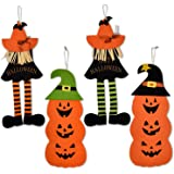 Happy Halloween Decoration Felt Hanging Wall Door Banner, Pack of 4 Signs 2 Witches and 2 Pumpkins for Indoor & Outdoor…
