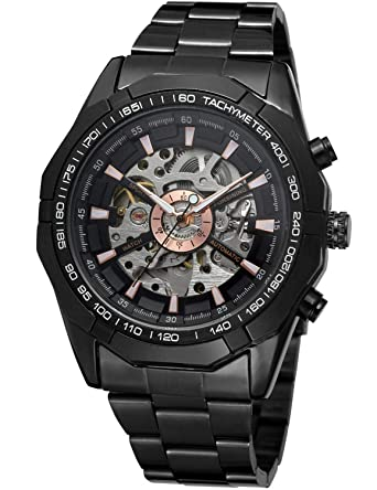 70e50f298 Carrie Hughes Men's Steampunk Automatic Mechanical Watch Skeleton Luminous  Hand Alloy Stainless-Steel Watch (