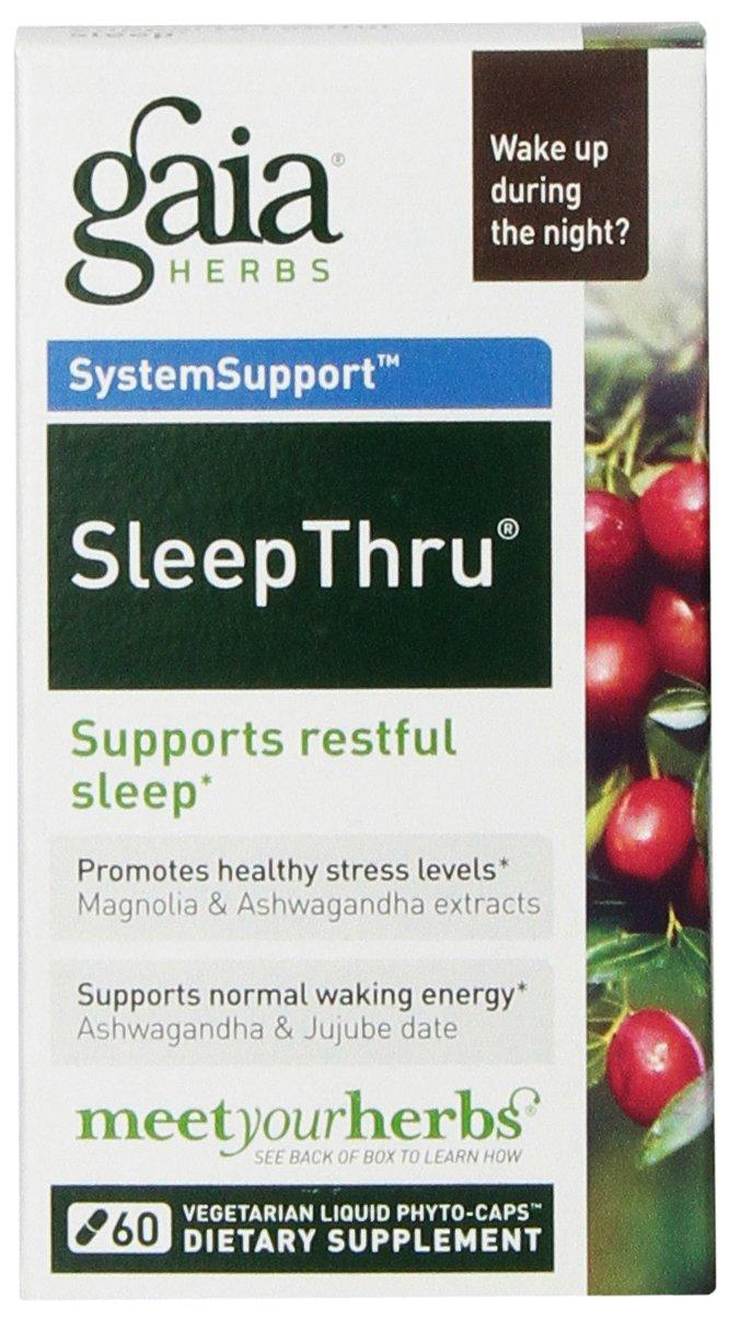 Gaia Herbs SleepThru, Vegan Liquid Capsules, 60 Count - Natural Sleep Aid, Promotes Restorative Sleep & Waking Energy, Organic Ashwagandha for Adrenal Health, No Melatonin